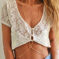 Sexy Ladies Bikini Crossover Waist Belly Harness Body Chain Necklace Jewelry Hot
