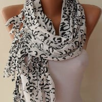 WhiteBlack Leopard Shawl / Scarf by SwedishShop on Etsy