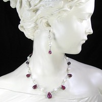 Faceted Ruby Teardrop Necklace Earrings Set White Peals All Handmade | bohowirewrapped - Jewelry on ArtFire