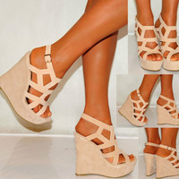 LADIES NUDE BEIGE TAN SUEDE WEDGES WEDGES SUMMER STRAPPY PLATFORMS HIGH HEELS