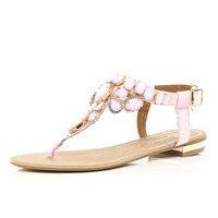 Pink gem stone embellished T bar sandals - flat sandals - shoes / boots - women