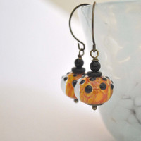 Orange Fire Lampwork Earrings, Black Polka Dot Glass Bead Dangle Earrings