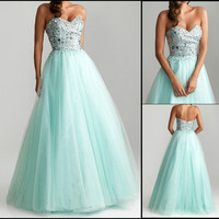 2013 Long Sweetheart Tulle A-Line Prom Evening Ball Gowns Quincenaera Dresses