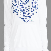 "291 ""Star Filled Heart"" Raglan Pullover Hoodie in White"