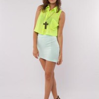 Neon Yellow Cropped Button Down Top