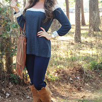 Never Giving Up Sweater: Navy/Blush