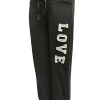 Ladies Black Love Printed Side Drawstring Sweat Pants