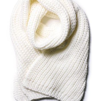 White Chunky Knit Long Scarf