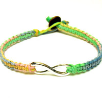Infinity Bracelet, Pink Yellow Blue Green Macrame Hemp Jewelry for Friends or Couples, Carousel Hemp, Valentines Day