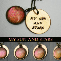 "Game of Thrones Inspired ""My Sun and Stars"" Color Shifting Antique Bronze Hand Stamped Necklace"