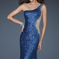 One Shoulder Sweetheart Gown by La Femme
