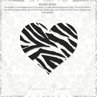 Zebra Print Heart || Vinyl Window Decal