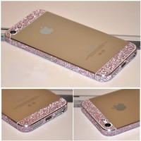 Bumper Side Luxury Glitter Bling Sticker Skin for Iphone 5 Pink Color