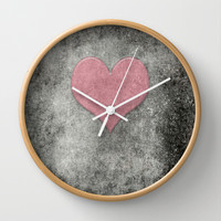 Valentines Grunge Love in Opal Pink Wall Clock by Bruce Stanfield