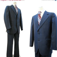 REDUCED 70s Suit Vintage Men's Shiny Pinstriped Blue Red Gangster Goodfellas 42 44