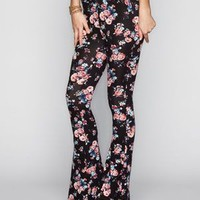 Full Tilt Floral Print Womens Flare Leggings Black Combo  In Sizes