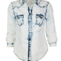 Washed Chambray With Lace Shirt