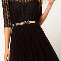 Romwe Double-layered Hollowed Black Dress