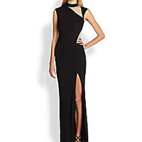 ABS - Nude-Cutout Column Gown - Saks Fifth Avenue Mobile