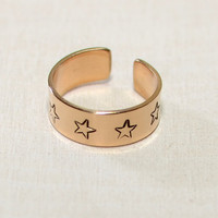 Toe ring for the stars handmade in bronze