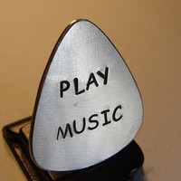 Guitar Pick Handmade from Aluminum with Play Music