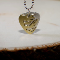 Flaming guitar pick sterling silver necklace handmade with blazing brass