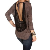 Chocolate Crochet Trim Back Dolman Top