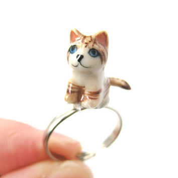 Porcelain Ceramic Kitty Cat Shaped Adjustable Animal Ring with Tan and White Stripes | Handmade from DOTOLY - Unique Animal Jewelry