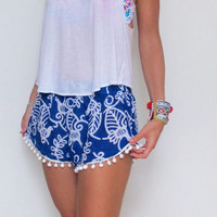 Pom Pom Shorts, Cobalt Blue Bird of Paradise with Large White Pom Pom Trim Pants