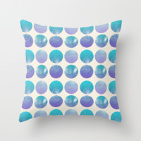Universal Geometry 2 - Galaxy Polkadots in purple and aqua Throw Pillow by Tangerine-Tane