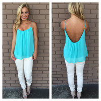Blue Low Back Chiffon Tank