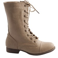 Side Zipper Lace Up Combat Boots - Taupe