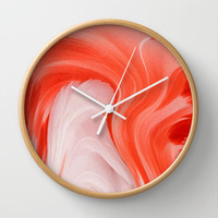 FLAMINGO FEATHERS ABSTRACT Wall Clock by catspaws