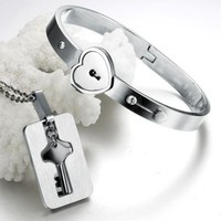 Eternal Love Couple Jewelry Stainless Steel Heart Lock Bangle with Key Pendent Necklace Set