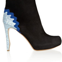 Nicholas Kirkwood Glitter-finished suede ankle boots – 60% at THE OUTNET.COM