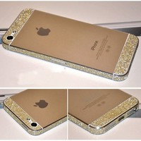 Bumper Side Luxury Glitter Bling Sticker Skin for iPhone 5 Gold Color