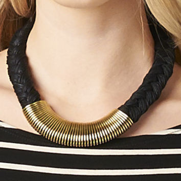 BRAIDED GOLD SPIRAL WRAP NECKLACE - BLACK | PUBLIK | Women's Clothing & Accessories