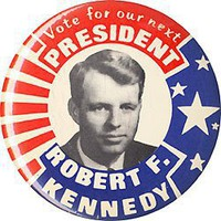 Pinback button promoting Robert Kennedy for president, 1968. Issued for the Democratic primaries 3.5