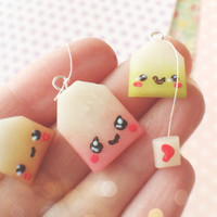 Set of 3 Kawaii Tea Bag Polymer Clay Charm