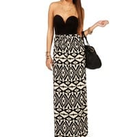 Pre-Order: Black/Taupe Deep V Maxi Dress