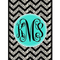 Monogram Personalized Black Grey Turquoise Chevron Pattern (NOT ACTUAL GLITTER) rubber iphone 4 case - Fits iphone 4 & iphone 4s T-Mobile, Verizon, AT&T, Sprint and International (Black)