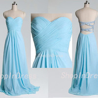 Tiffany Blue Prom Dress,Sweetheart Prom Dress,Backless Prom Dress,Sexy Long Chiffon Prom Dress D0071117