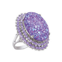Silverplated Lavender Opal Dust,CZ Ring - Earrings, Necklaces, Rings, Bracelets, Pendants and More :: Unique Jewelry at Affordable Prices | Natures Jewelry