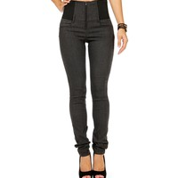 Charcoal Front Zip High Waisted Pants
