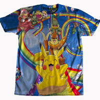 Pokemon Rainbow Pikachu Tshirt All Over Print 1080p HD