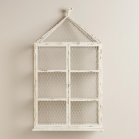 Whitewash Birdcage with Shelf and Bird Top - World Market