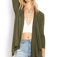 FOREVER 21 Laid Back Open-Knit Cardigan Olive