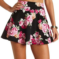 HIGH-WAISTED FLORAL SKATER SKIRT