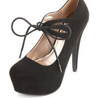 LACE-UP NUBUCK PLATFORM PUMPS