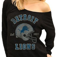 Junk Food Originals NFL Detroit Lions Est. 1934 Helmet Black Wash Off The Shoulder Juniors Raglan Tee